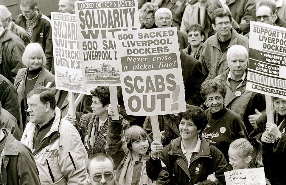 Mersey dockers strike.