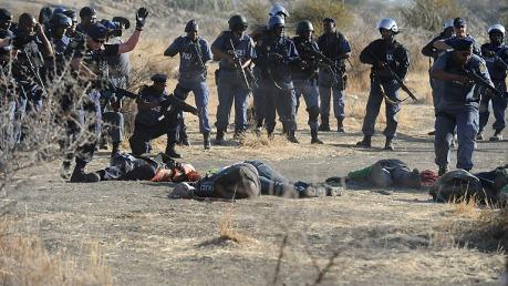 Matanza de mineros en Sudáfrica.