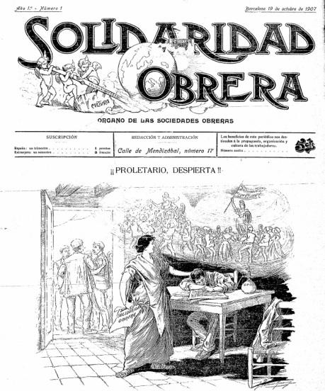 Solidaridad Obrera nº 1, 19 de octubre de 1907.